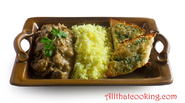 marinated Lamb with rice and garlic bread