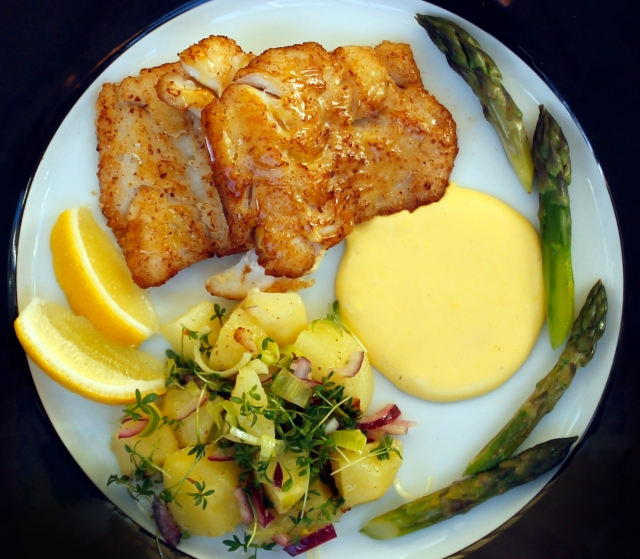 Panfried Haddock with sauce Hollandaise a